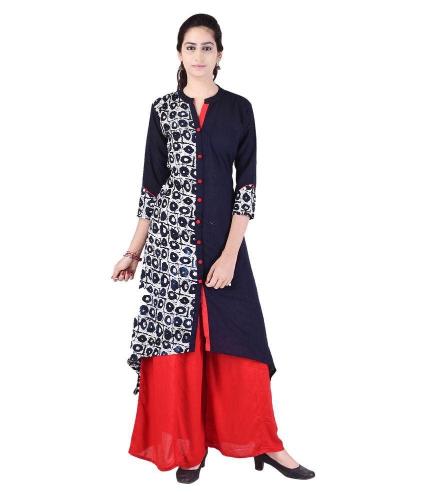 Alfaaz Blue Cotton Straight Stitched Suit