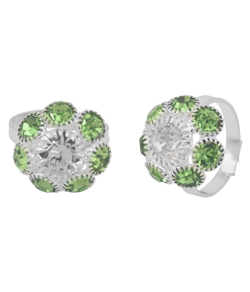 Memoir Brass Silver Green White CZ adjustable size Ethnic Traditional Stylish Fashion bichiya toering footfinger jewellery for Women