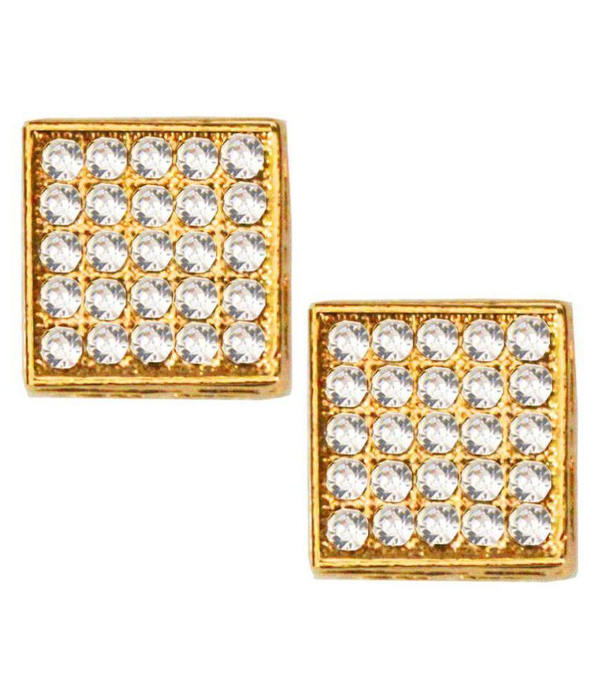 Pihu  Big Billion Day Offer Gold  Stone Studded Square Fashion  CZ Stud Earring