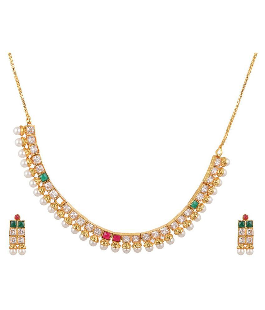 Antique Multicolor AD Stone Necklace set with Earrings for Women