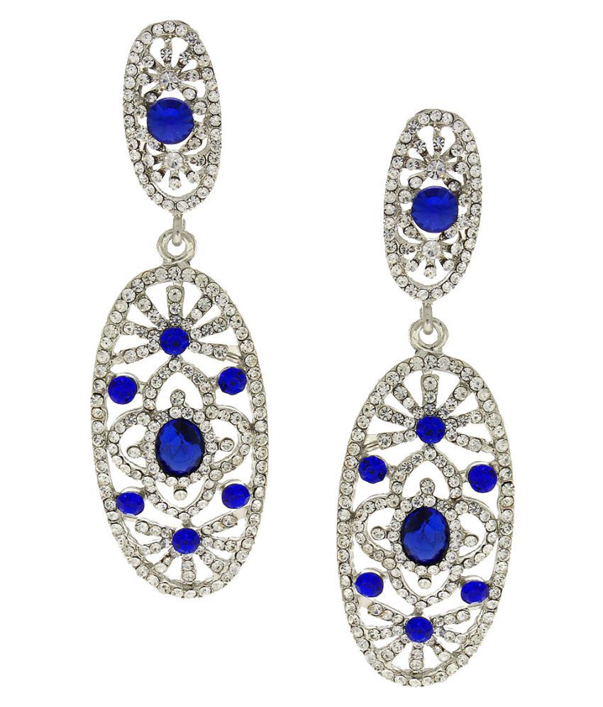 Anuradha Art White Colour Studded Blue Colour Shimmering Stone Party Wear Long Fancy Earrings For Women/Girls
