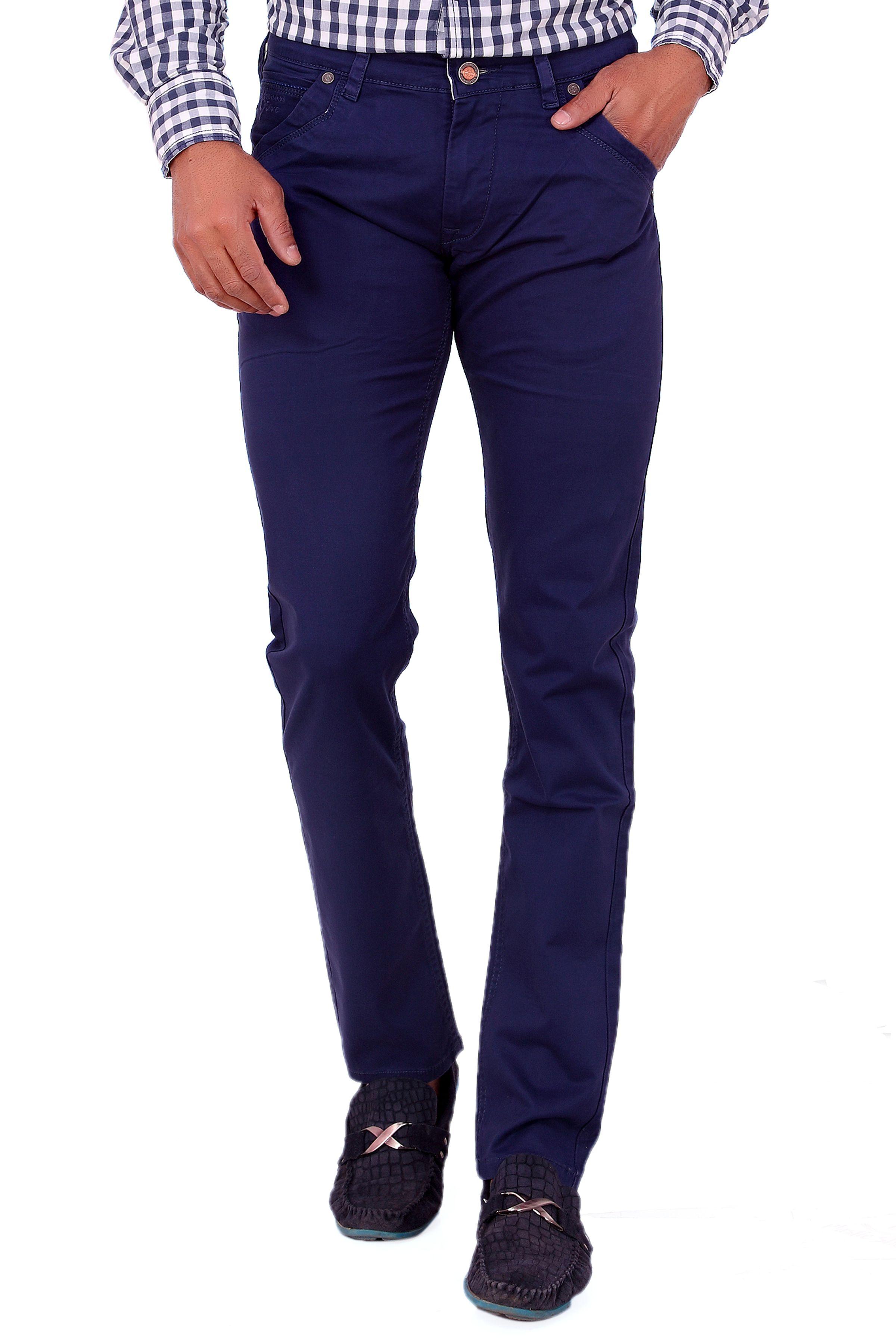Dare Blue Slim -Fit Flat Trousers