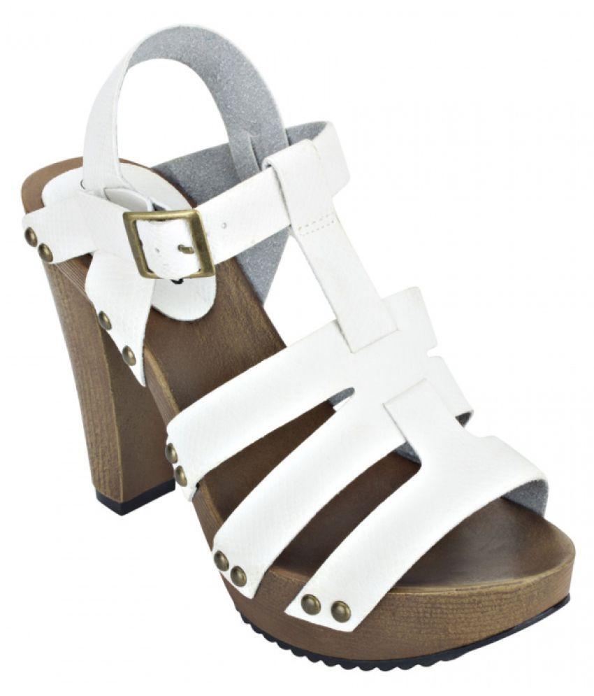 Estatos White Block Heels