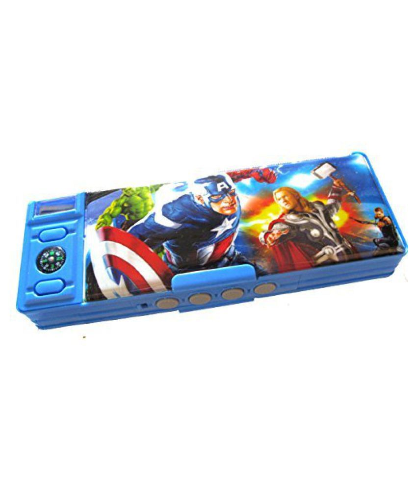 double sided compass avengers pattern pencil box with password rh snapdeal com