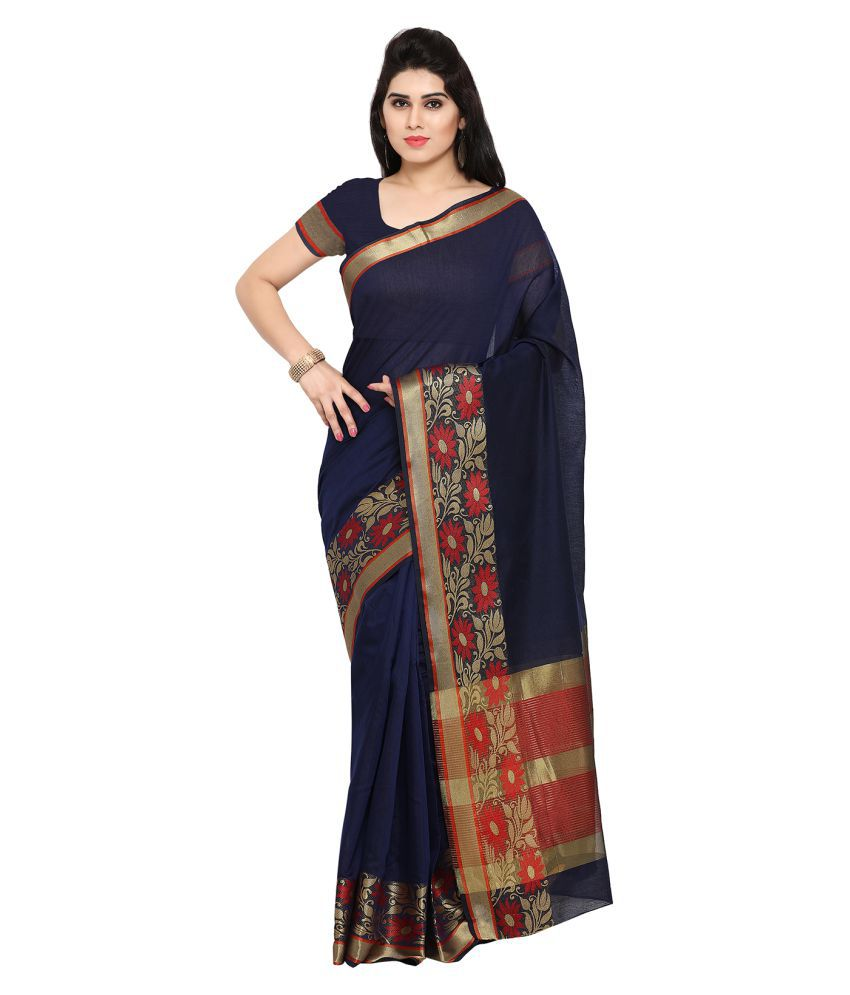 Apple Creation Brown and Black Cotton Silk Saree