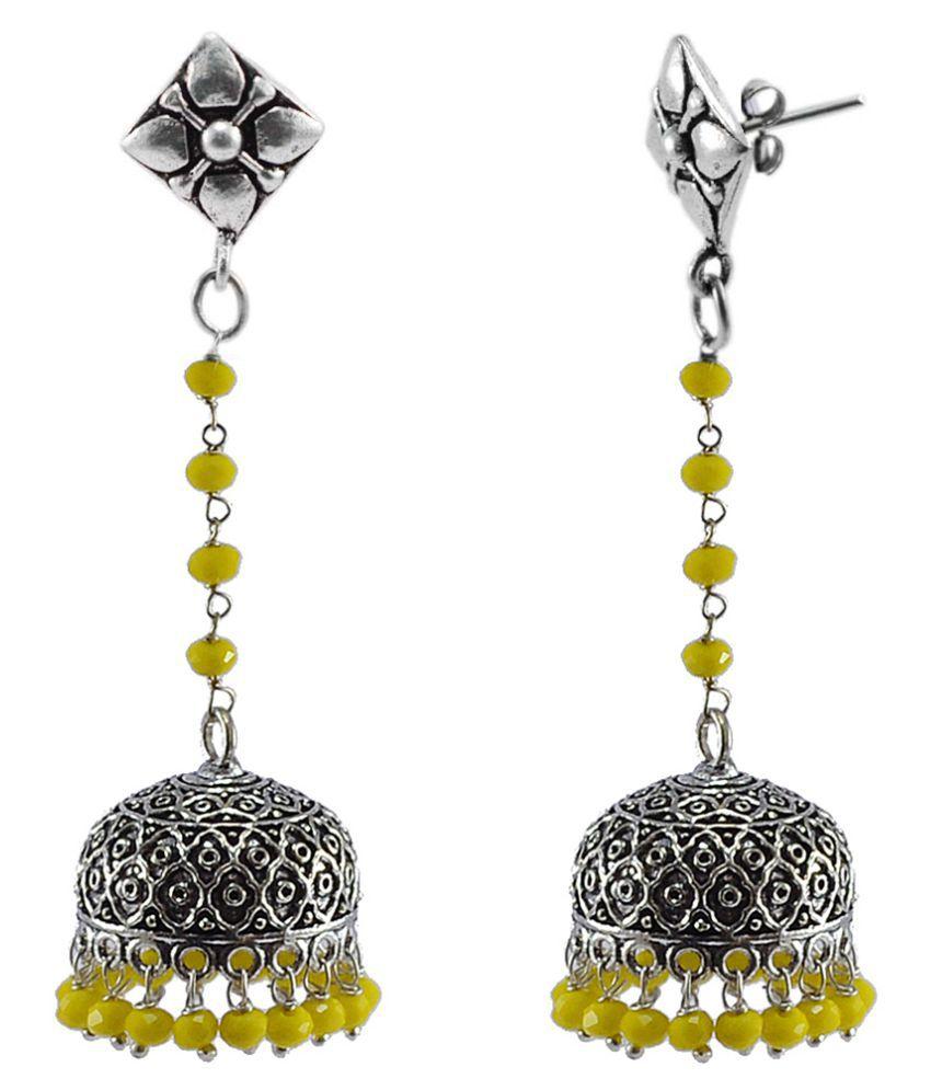 Rajasthani Jewellery With Yellow Crystal Beads-Studs Jhumki Earrings-Silvesto India PG-113631