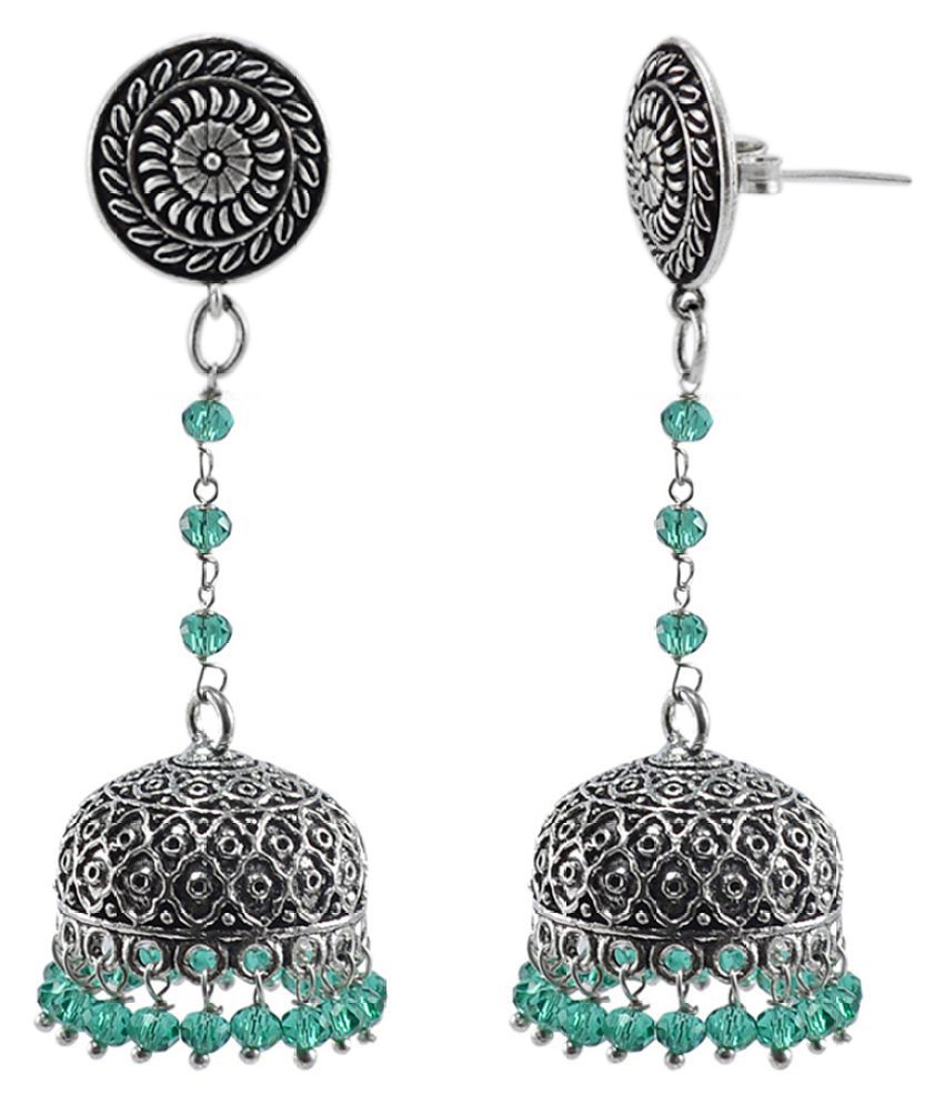 Silvesto India Eternity Wear Silver Polished Jhumka Earring With Sea Green Crystal Beads Round Studs Jhumki PG-114072