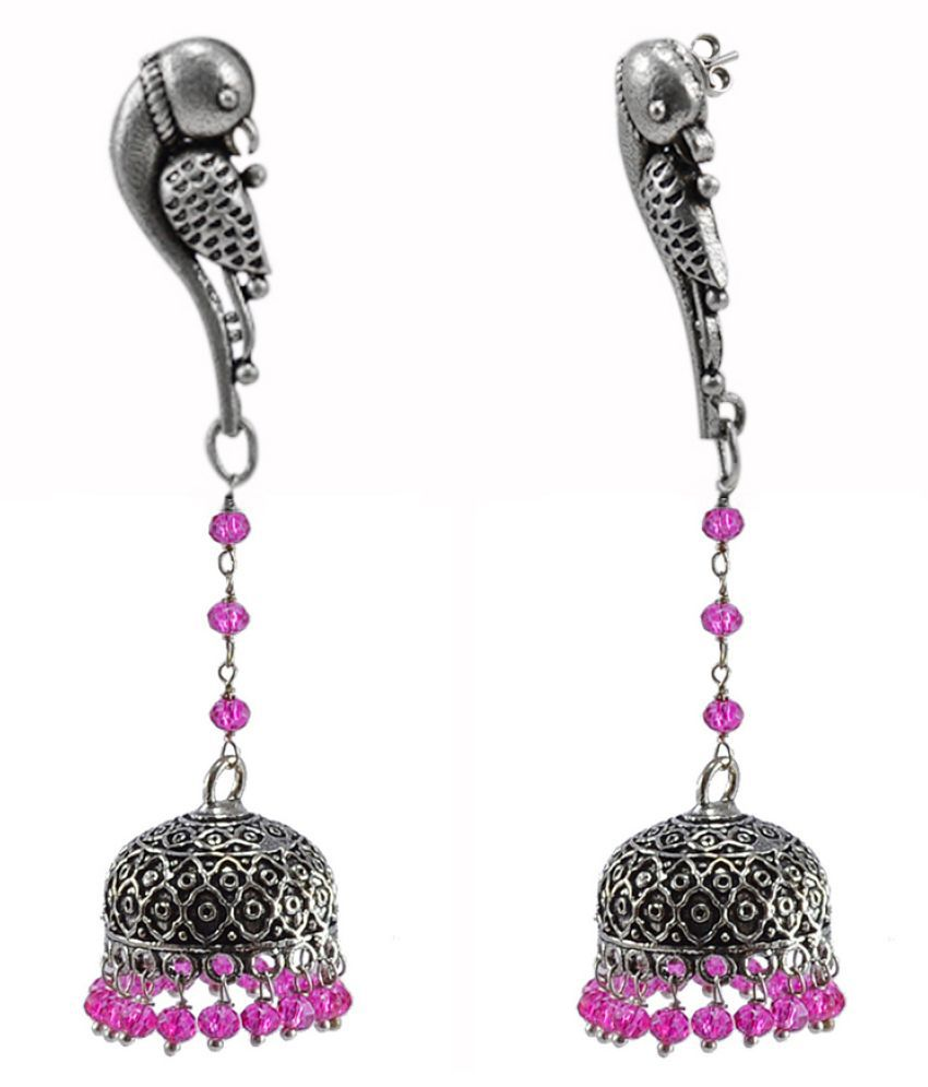 Silvesto India Hand Crafted Parrot Studs Jhumki Dome Earrings With Pink Crystals Indian Jewellery PG-114287