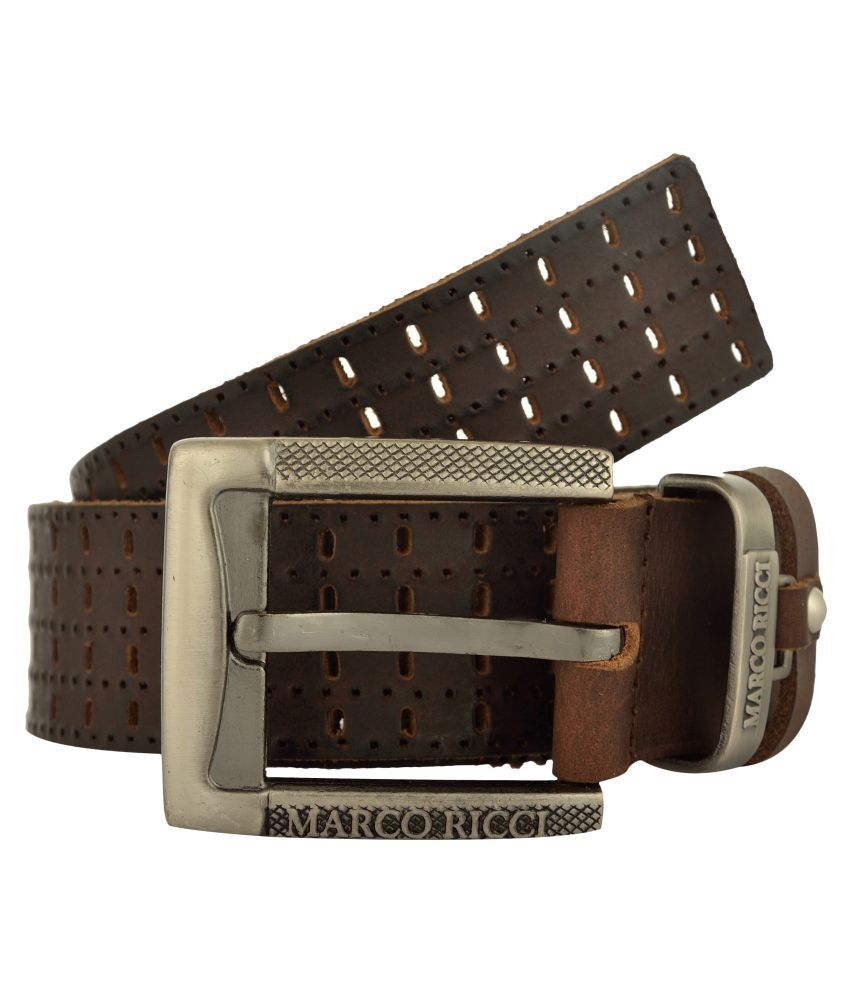 MARCO RICCI Tan Leather Casual Belts