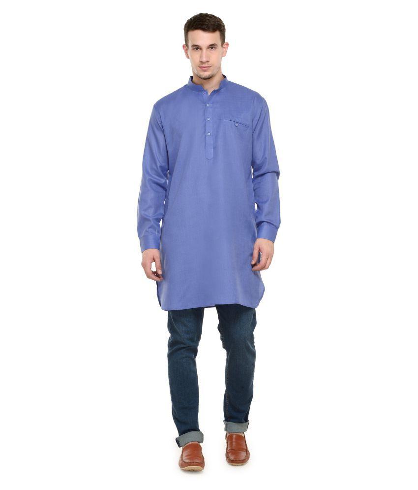 RG Designers Blue Cotton Kurta Single