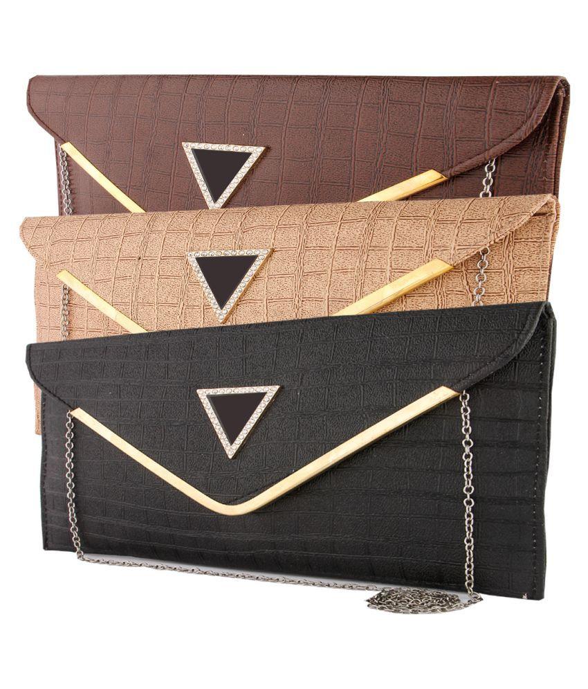 KRITIKA WORLD Multi Faux Leather Box Clutch