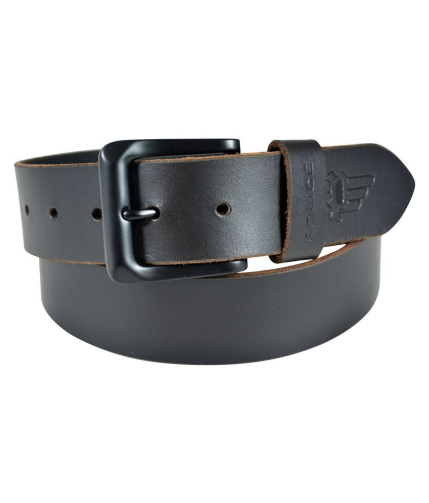 Police Black Leather Casual Belts