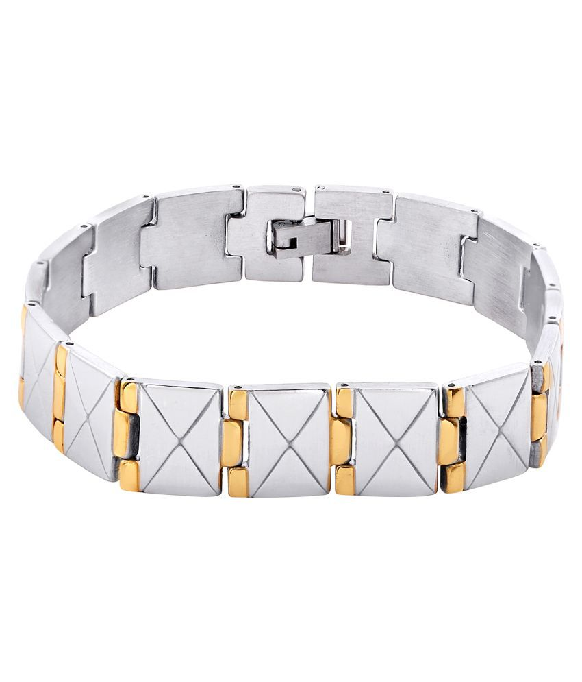 Sanaa Creations Silver Gold Plated Alloy Mens Bracelet