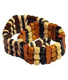Shiv Jagdamba Fashion Elastic 2Pcs Mixed Design Beads Charm Bangle Cuff For Women Men Jewelry Combo Multicolor Wood Round Bracelet For Men and Women