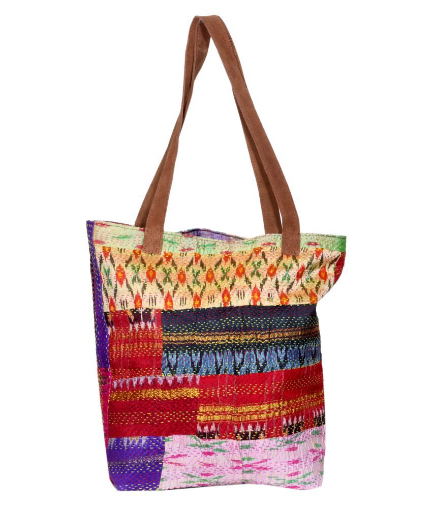 IndiWeaves Multi Fabric Tote Bag