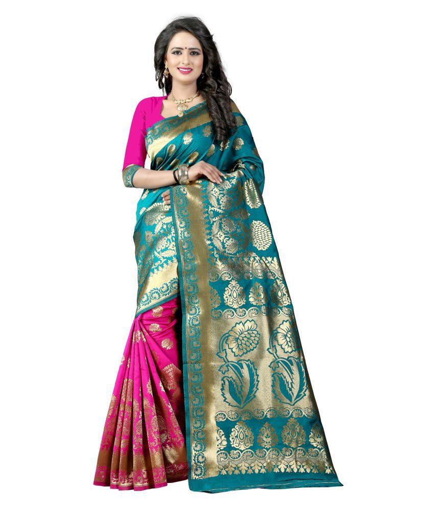 ethnic diwa Green and Grey Art Silk Saree