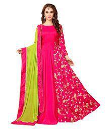ethnic diwa Pink Silk Anarkali Gown Semi-Stitched Suit