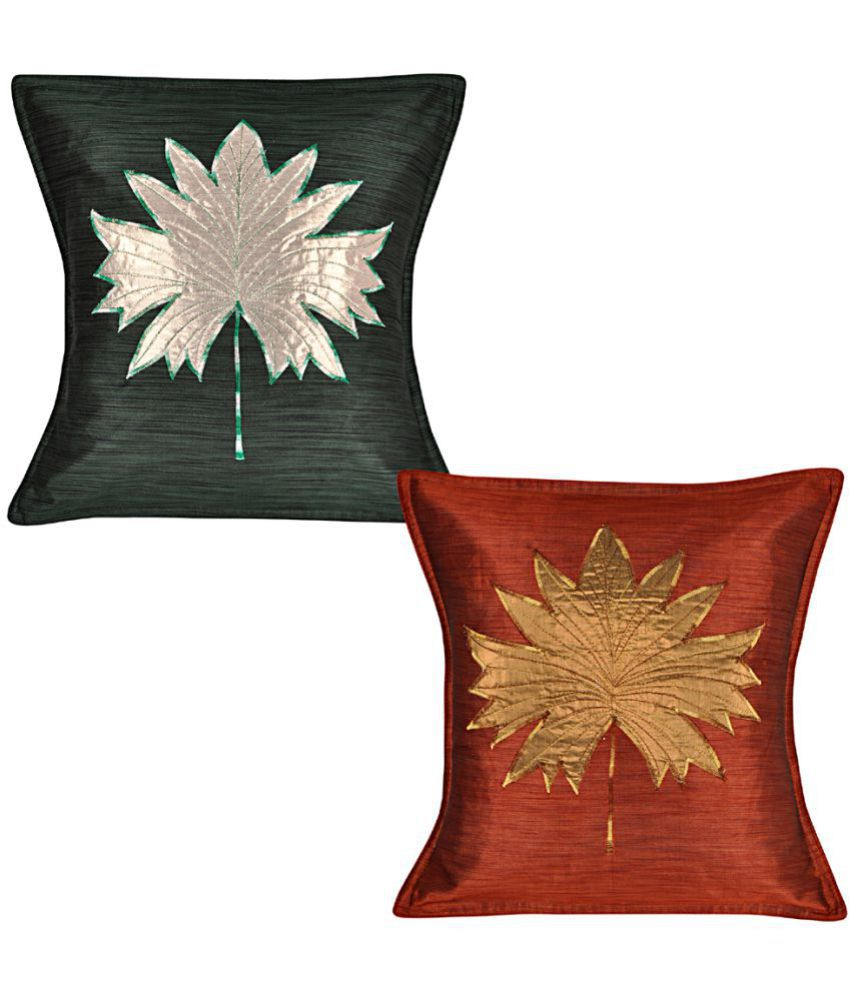 Lal Haveli Set of 2 Silk Cushion Covers 45X45 cm (18X18)
