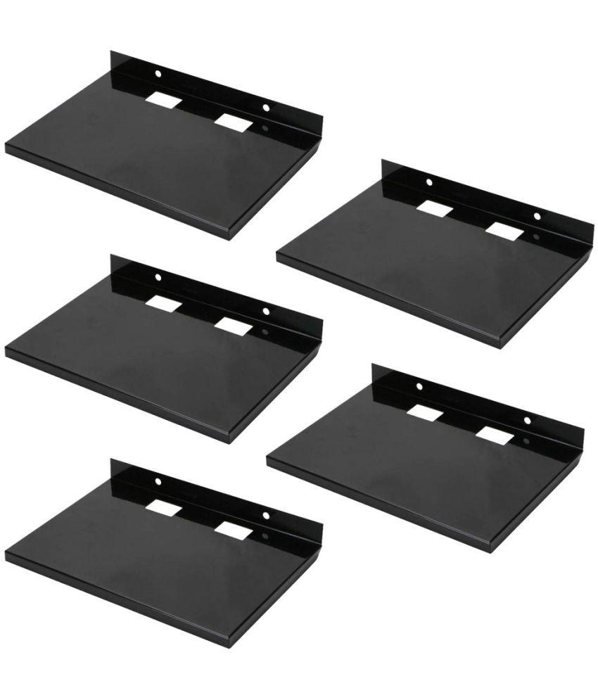 Masterfit Iron Floating Shelf/ Wall Shelf / Storage Shelf/ Decoration Shelf Black - Pack of 5
