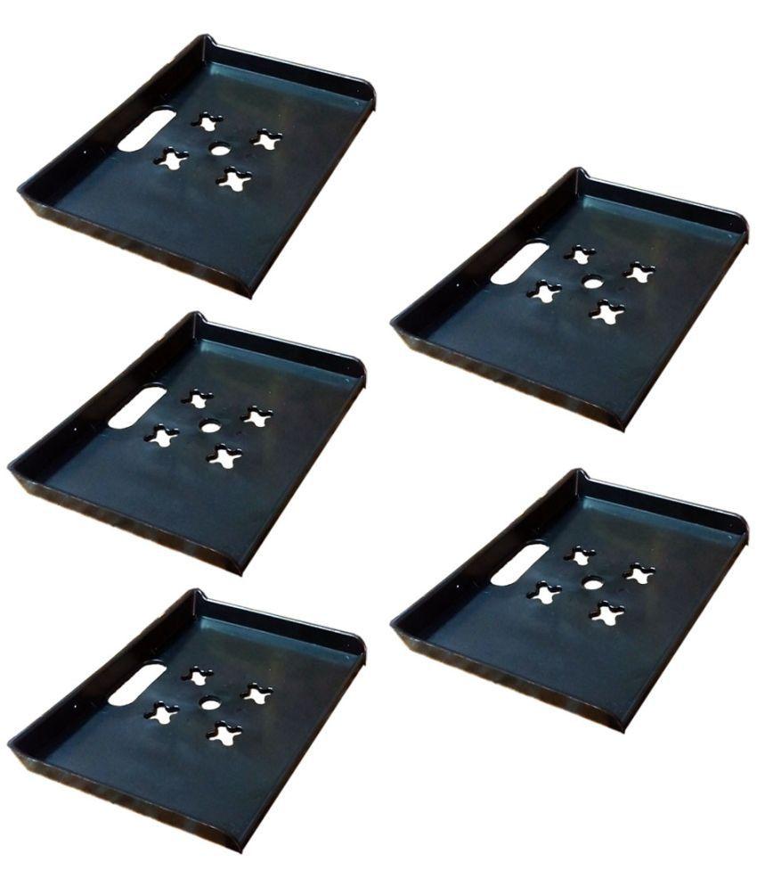 Masterfit PVC Floating Shelf/ Wall Shelf / Storage Shelf/ Decoration Shelf Black - Pack of 5