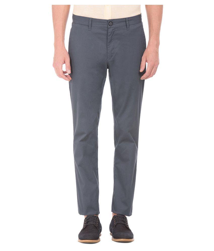 U.S. Polo Assn. Grey Slim -Fit Flat Trousers