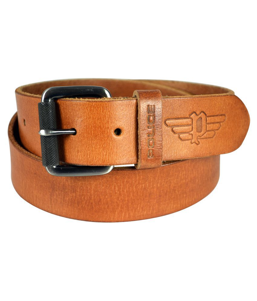 Police Tan Leather Casual Belts