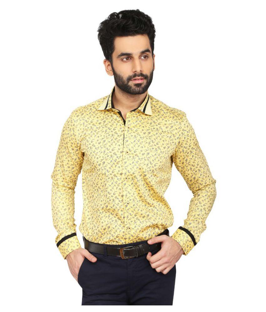 Daagwood Yellow Casual Regular Fit Shirt