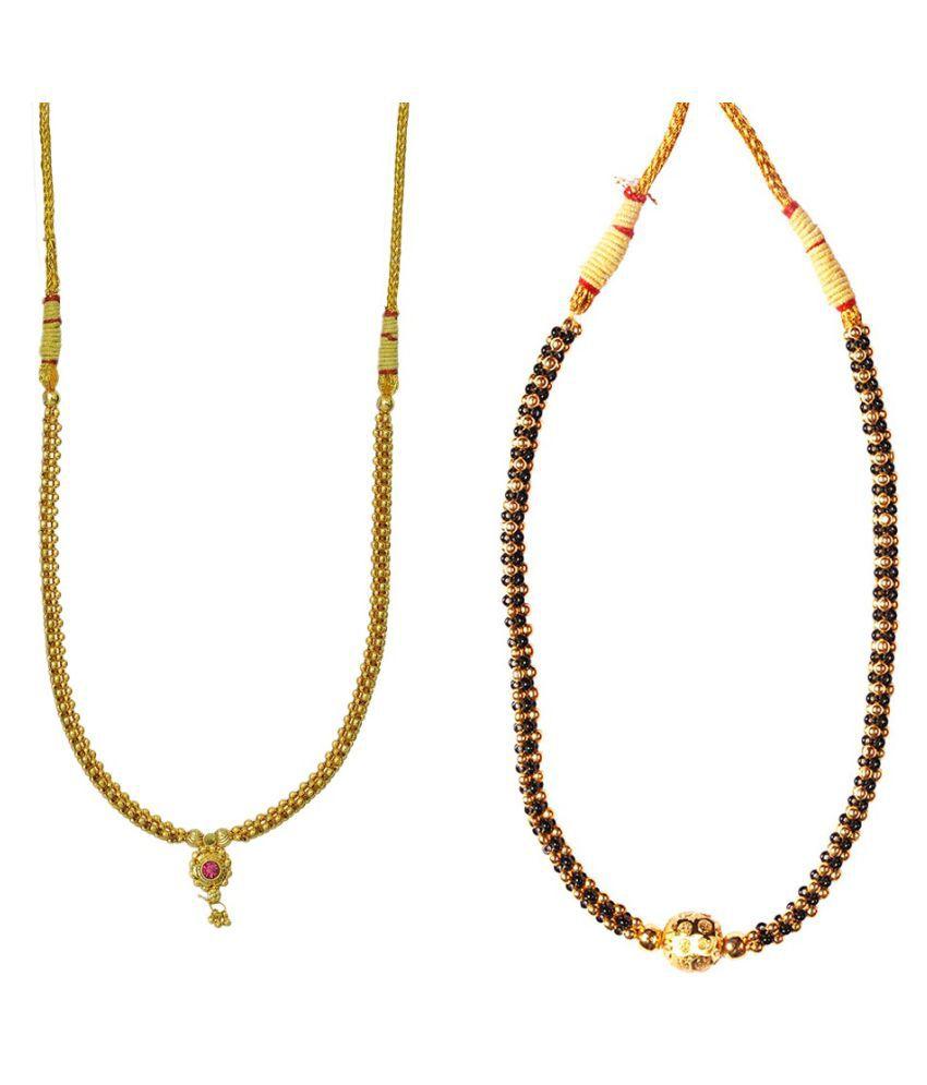 Soubhagya Jewellers Combo Kolhapuri Black Gunda Thushi & Goldan panadi Thushi