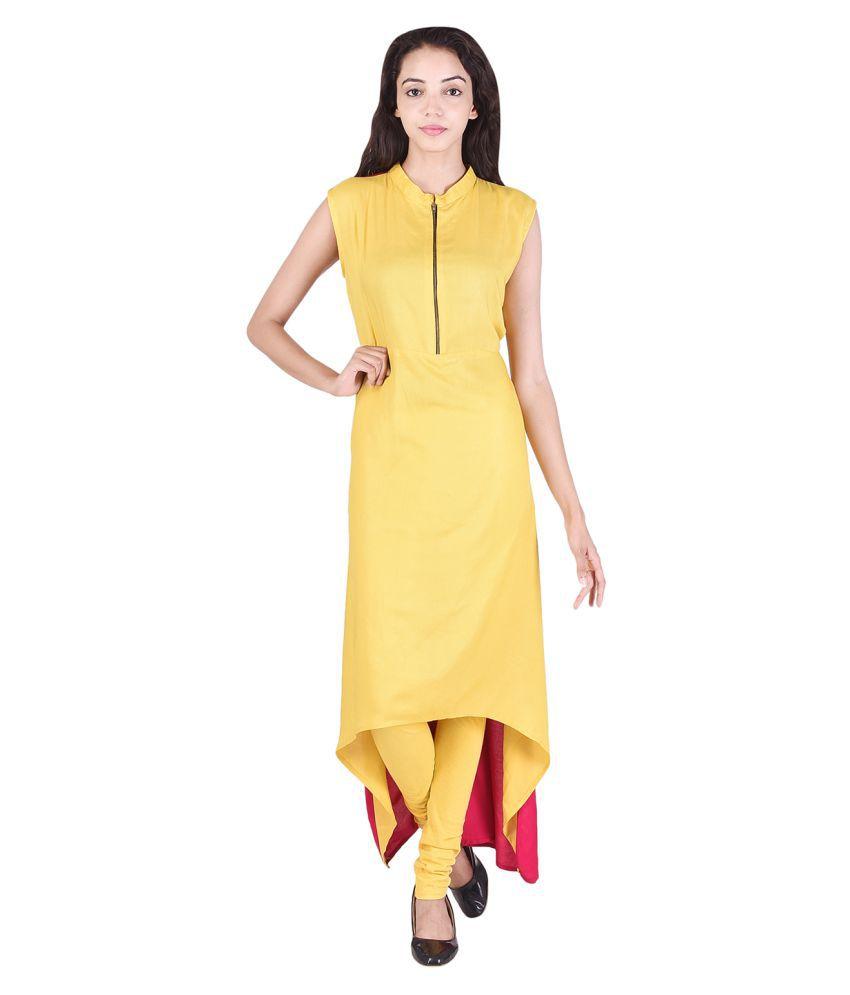 VOJO Yellow Rayon Asymmetrical Hemline Kurti