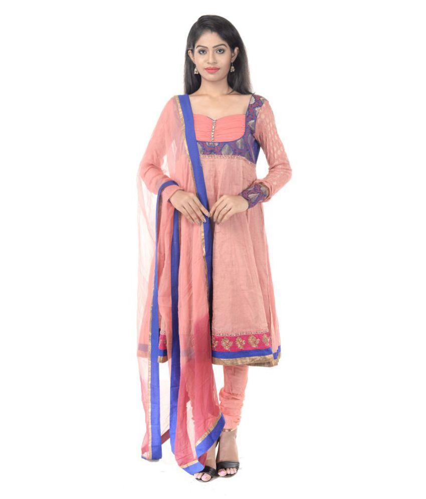 Six Degrees Peach Cotton Anarkali Stitched Suit