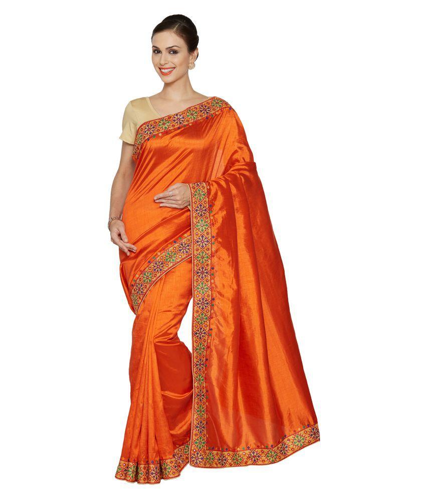Viva N Diva Orange Silk Saree
