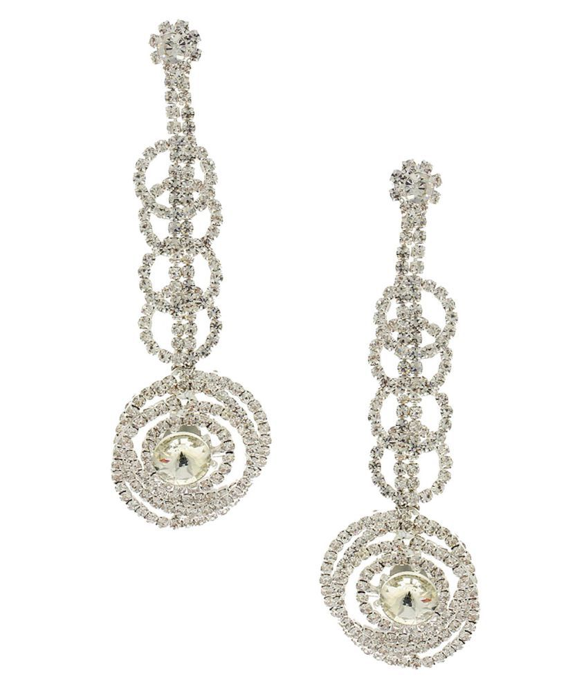 Anuradha Art Silver Finish Classy White Colour Studded Shimmering Stone Party Wear Fancy Long Earrings For Women/Girls