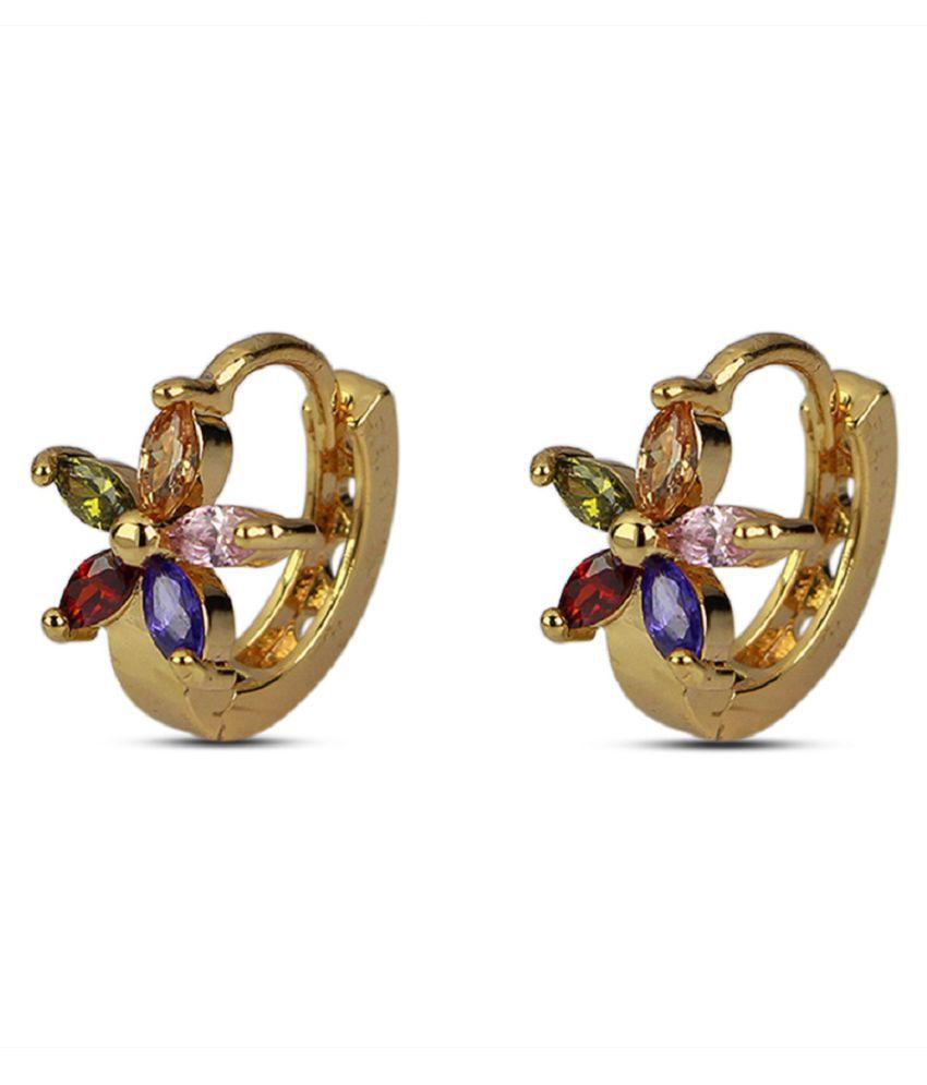 Diva Fashion Stylish Design Marquise Stone Yellow Gold Plating Huggies Earring