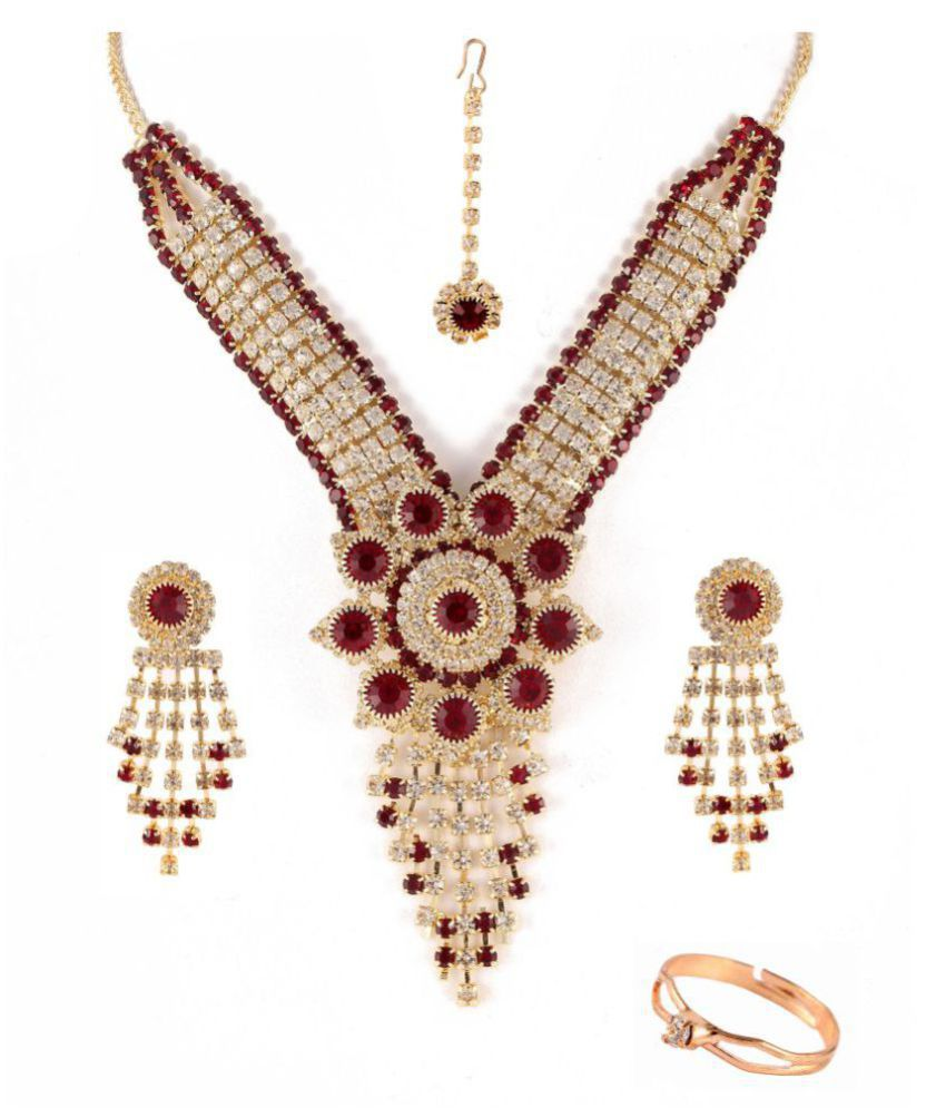 Frebule Alloy Necklace Set with Maang Tika & Ring