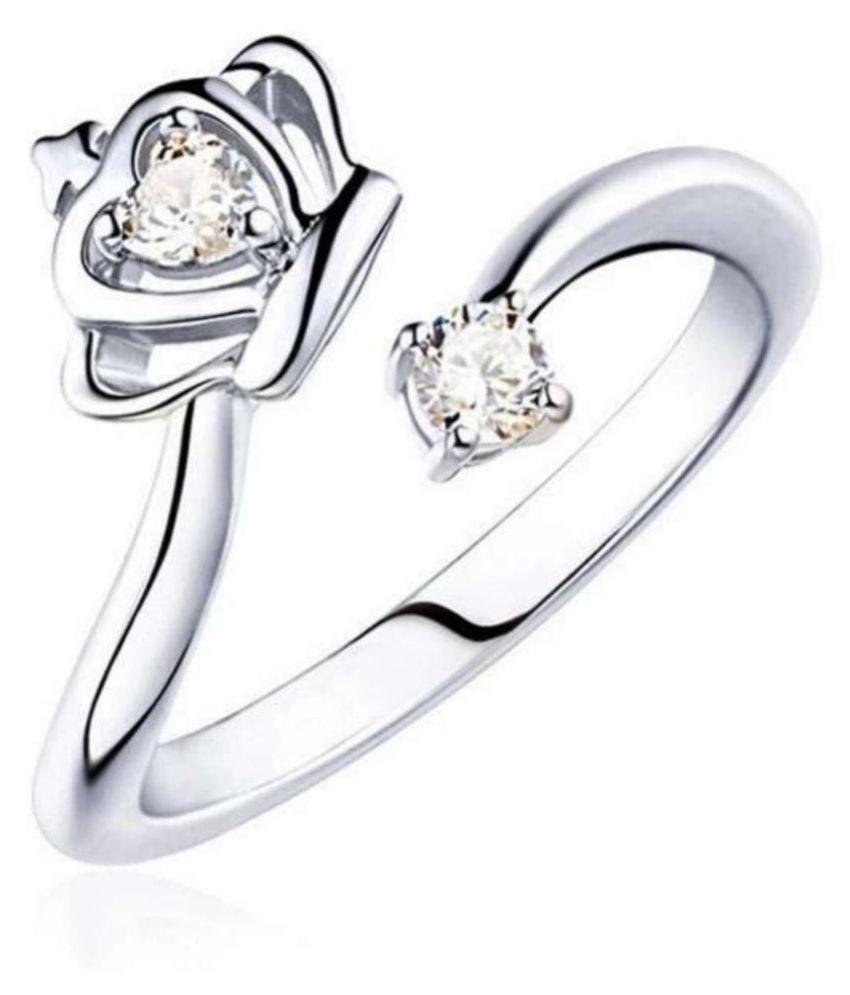 Silverette Princess Crown Swarovski Elements Adjustable Ring For Women &  Girls By Stylish Teens