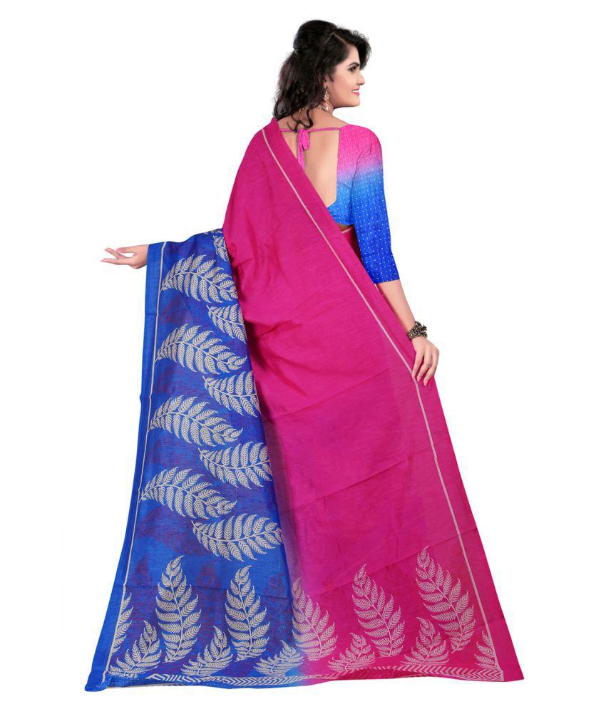 59414c4e92be4 Sunita Sarees Pink and Blue Polycotton Saree - Buy Sunita Sarees ...