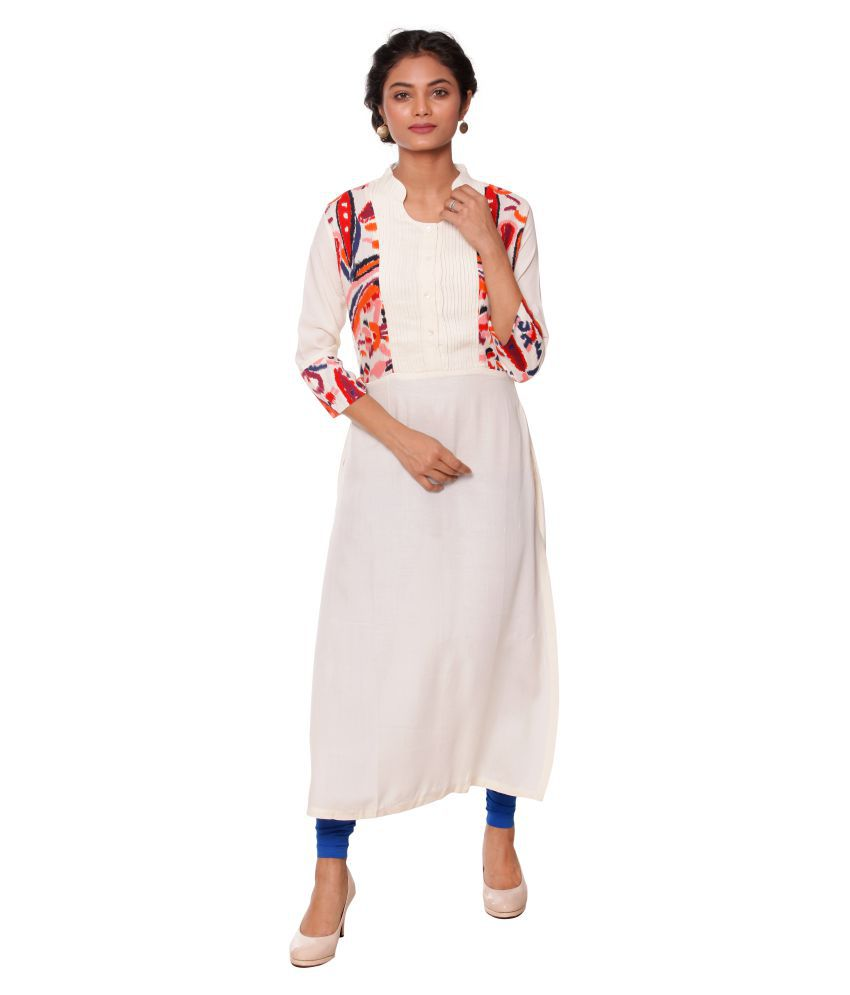 Unimod White Cotton Princess cut Kurti