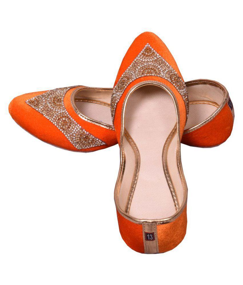 kalakari e shop Orange Flat Ethnic Footwear
