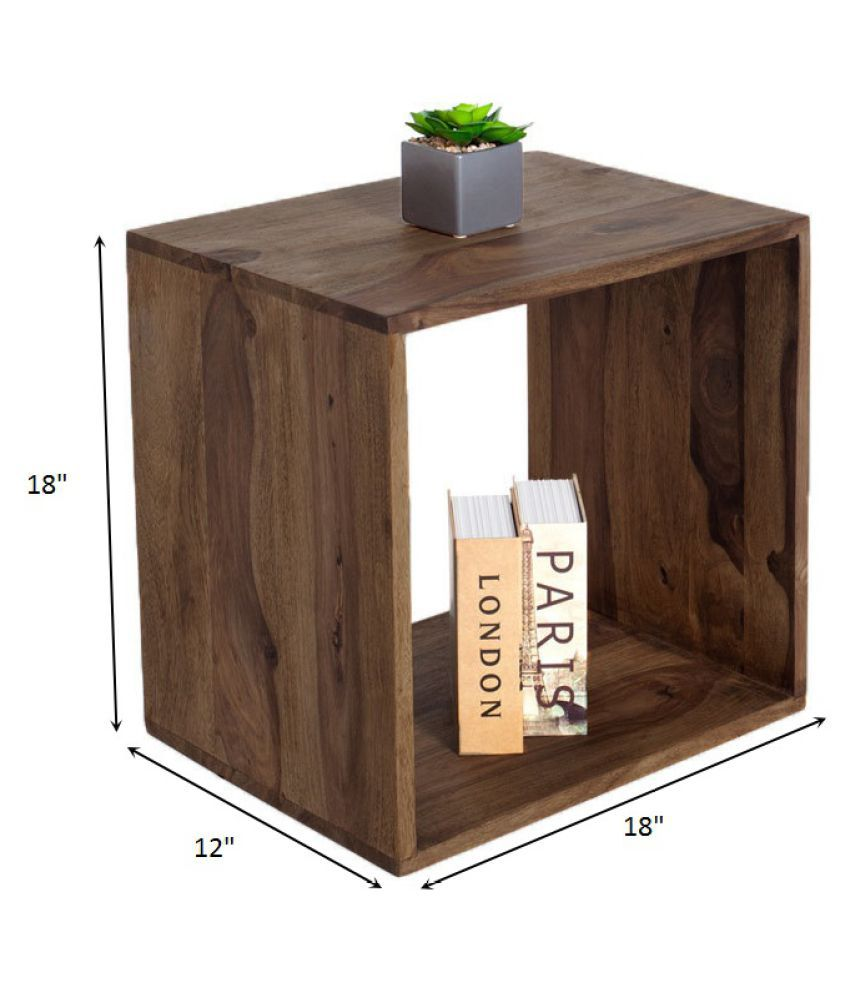 angel s solid sheesham wood cubic end table stool side table rh snapdeal com