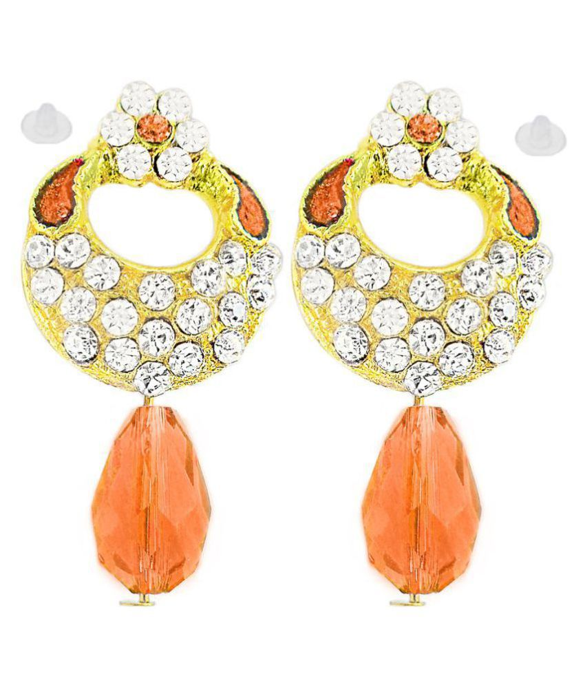Slks India Craft-New Bollywood Designer and Anniversary or Partywear Brown Earrings