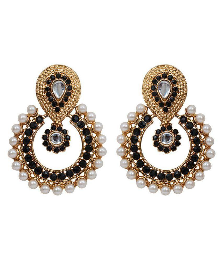 Grand Jewels Golden Black Bridal Hanging Earrings