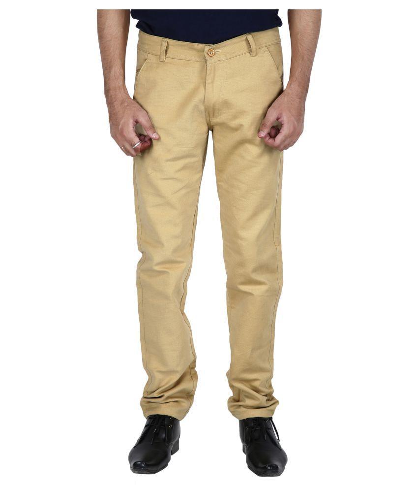 Stallion Cotton Clothing Beige Regular -Fit Flat Chinos