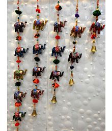 Royal Arts And Crafts Handmade Rajasthani Elephant Hanging Door Hanging Multi - Pack of 5