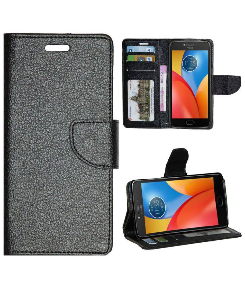 detailed pictures a8f21 db691 Motorola Moto E4 Plus Flip Cover by Gizmofreaks - Black