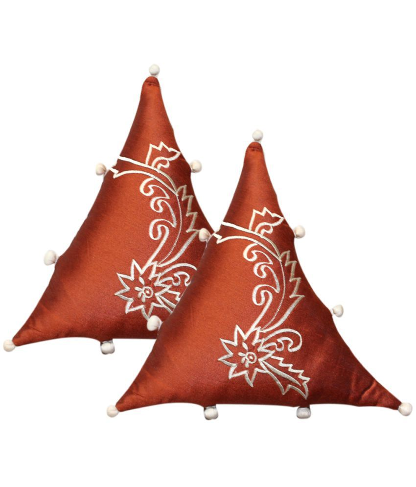 HOME ROYAL Set of 2 Rust Polyester Filled Cushion
