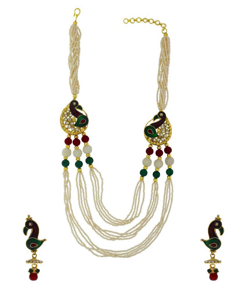 Anuradha Art Golden Finish Stylish Studded Pearl Beads Wonderful Traditional Necklace Set For Women/Girls