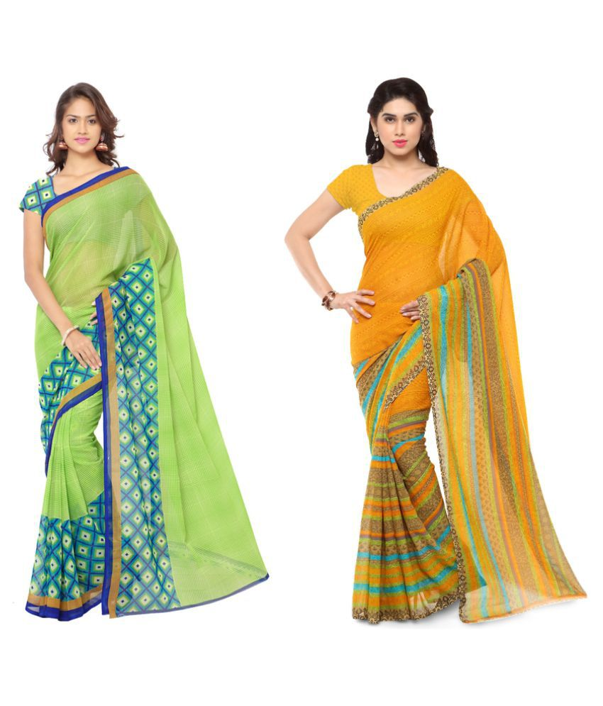 Kashvi Sarees Multicoloured Georgette Saree Combos