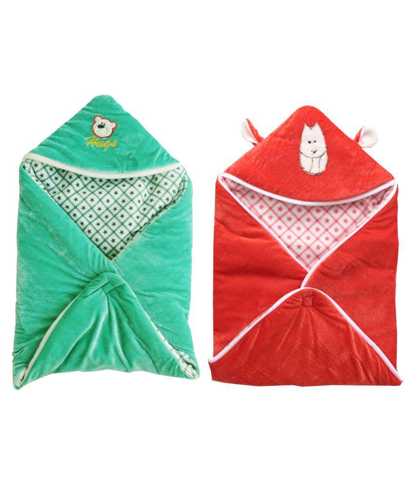 My NewBorn Multi-Colour Velvet Baby Wrap cum blanket ( 66 cm × 66 cm - 2 pcs)
