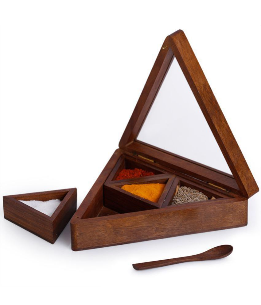 cd9ac6afd4f3 ExclusiveLane Sheesham Wood Pyramid Spice Box (4 Containers) Wooden Spice  Container Set of 1