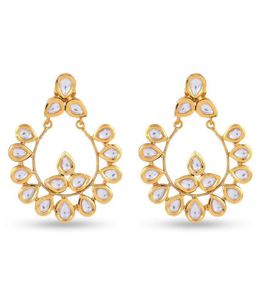 Traditional Kundan Meena Desginer Stylish Party Wear Chandbali Earring For Girls / Women